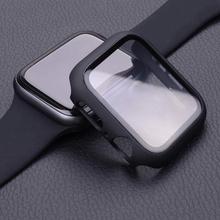 Szkło + pokrywa dla apple watch przypadku 44mm 40mm iWatch 42mm 38mm hartowane zabezpieczenie ekranu akcesoria dla apple watch serii 6 5 4 3 tanie tanio LCAPLE CN (pochodzenie) Odporne na zarysowania Screen Protector Case Nano powlekane szkło hartowane filmu For iwath series 6 SE 5 4 3 2 1
