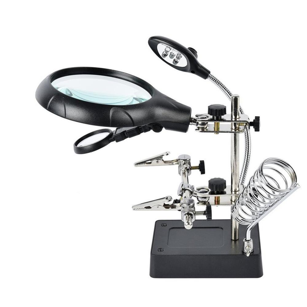 Soldering Iron Station Stand With Welding Magnifying Glass Clip Clamp Third Hand Helping Desktop Magnifier Soldering