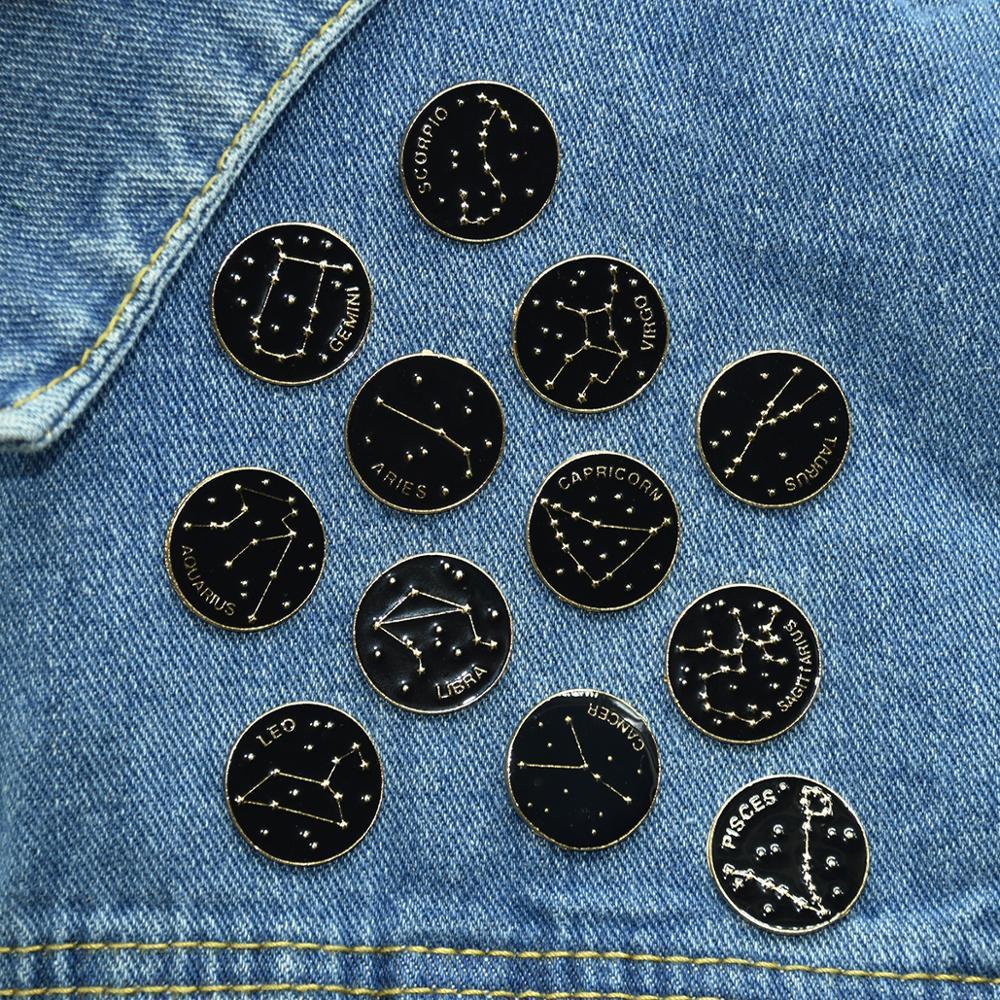 Эмалированная булавка с изображением планеты двенадцати созвездий, черная брошь на сумку, одежду, булавка на лацкан, значок с изображением ...