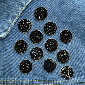 Twelve Constellation Planet Enamel Pin Black Brooch Bag Clothes Lapel Pin Sasha Away Badge Cartoon Jewelry Gift For Kids