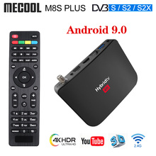 Mecool M8S زائد S2 صندوق التلفزيون الهجينة Android9.0 DVB S2 صندوق التلفزيون الأقمار الصناعية Amlogic S905X2 2GB 16GB دعم 4K M8S زائد DVB كومبو صندوق KM3