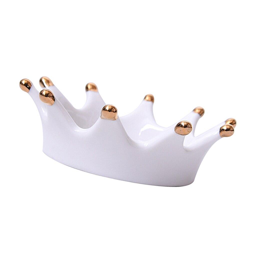 Ceramic Crown Shape Jewelry Ring Holder Dish Organizer Trinkets Tray Display