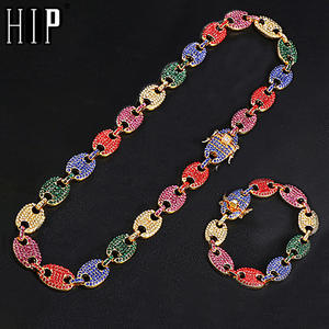 HIP Necklace Charm Jewelry Link-Chain Coffee-Bean Rhinestone Nose-Alloy Hip-Hop Iced-Out