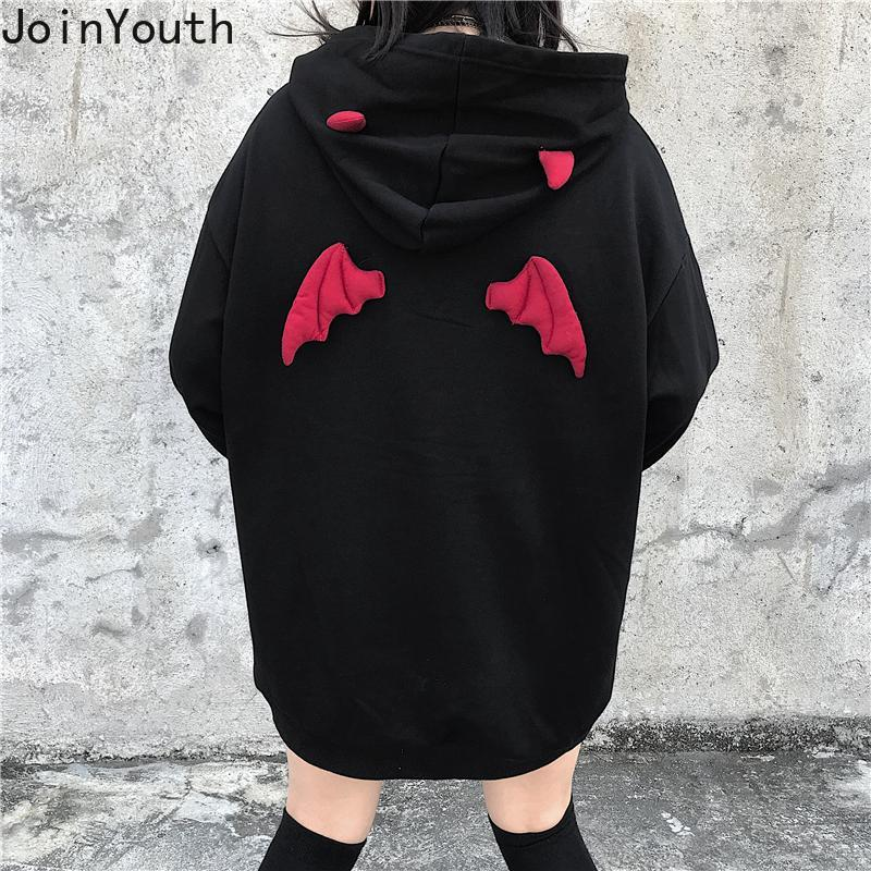 Joinyouth Plus Size Women BF Style Hooded Sweatshirt Devil Wing Causal Oversize Hoody Autumn Winter Fleece Thicken Hoodies 56709