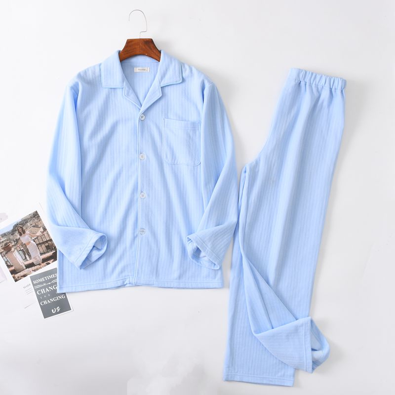 Pajamas for men autumn Long sleeve Cotton stripe Cardigan Pajama set