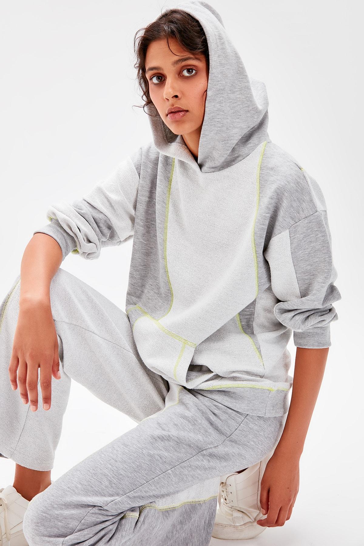 Trendyol Gray Spreader Dikişli Knitted Sweatshirt TWOAW20SW0259