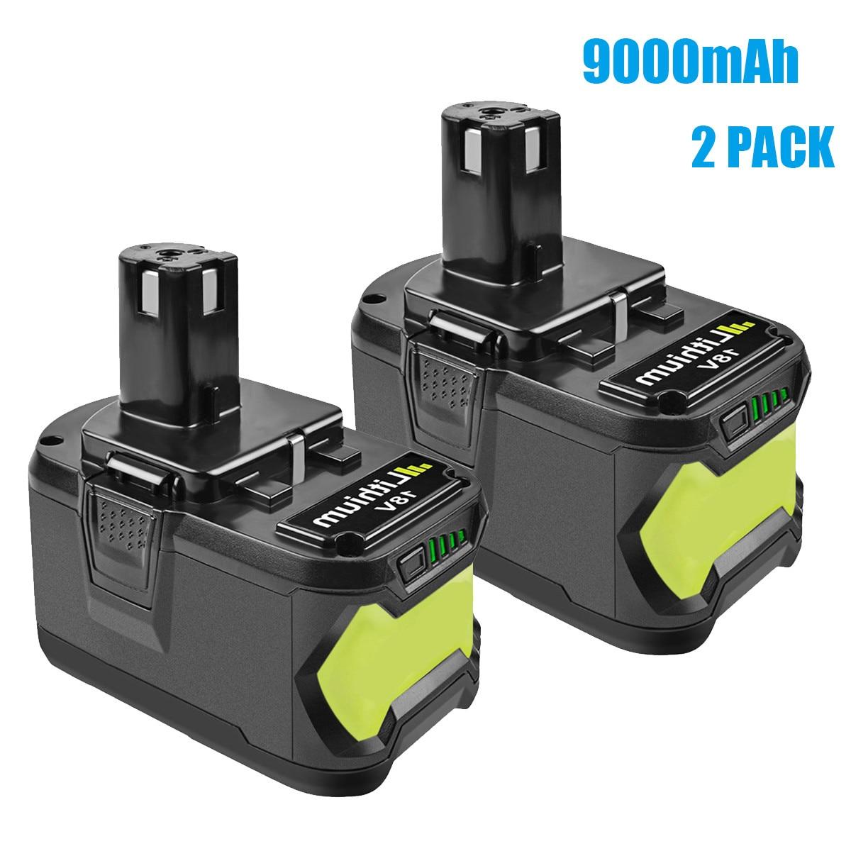 Bonadget substituição para ryobi 18v 6000mah 9000mah p108 bateria rb18 bateria recarregável de íon de lítio ferramentas elétricas bateria