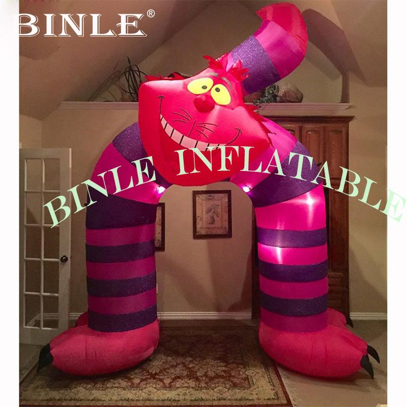 Pink Advertising Inflatable Cat Shape Arch with LED lights Inflatable Welcome Arch for party entrance decoration