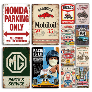 American's Mother Road Tin Sign Vintage Car Poster Metal Plat Retro Parking Only Wall Stickers Man Cave Garage Decor Plaques
