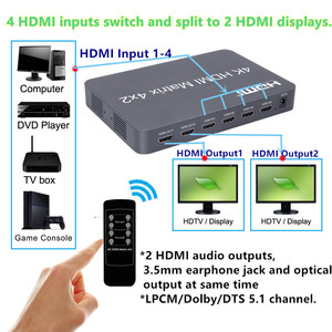 Image 4 - 1080P 3D 4K*2K 4x2 HDMI Matrix Switch Switcher Splitter V1.4, EDID RC Control,LPCM/DTS/Dolby AC3 For XBOX DVD PS34 Free Shipping