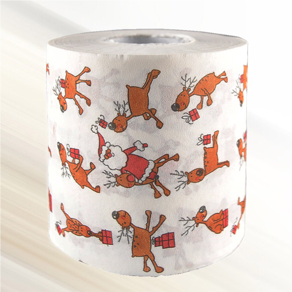1 Roll of Printed 2-ply Christmas Tissue Roll Paper Roll for Toilet Bathroom Restroom christmas new year 1