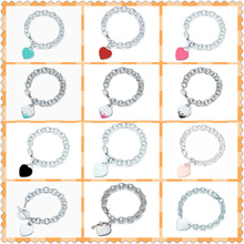 925 heart shaped bracelet enamel splash heart shaped ladies bracelet high quality 1: 1 logo high jewelry gift недорого
