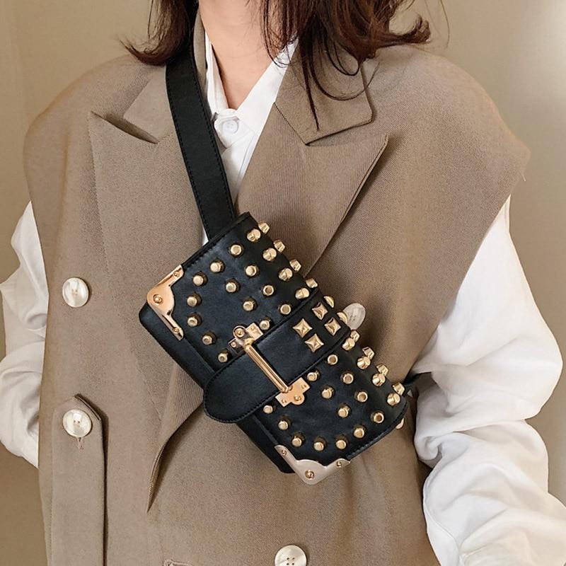 Fashion Waist Belt Bag For Women Punk Rivet Fanny Pack Luxury Brand Designer Chest Bag High Quality Chain Phone Hip Waist Pack