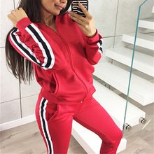 two piece set tracksuit Women Autumn Winter Fashion Casual Striped Printed Sport outfits women clothes chandal mujer 2 piezas(China)