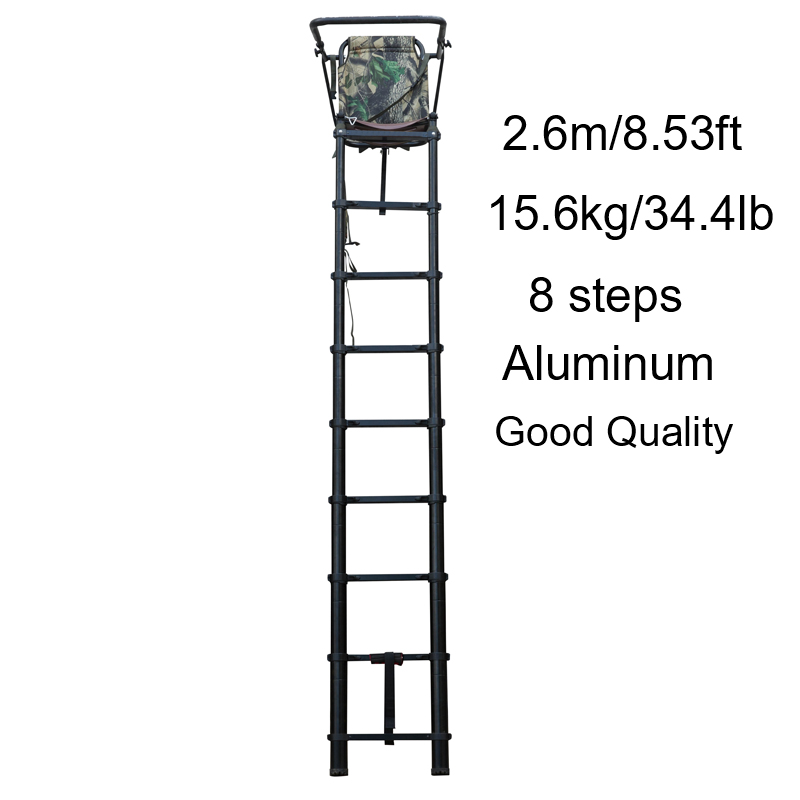 2.6M Aluminum Hunting Tree Stand Seat 8 Steps Hunting Telescopic Ladder Floding Hunter Shooting Chair Stand With Camouflage Seat
