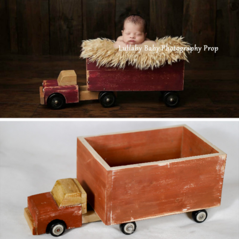 Newborn Photography Props Retro Mini Car Baby Posing Prop Full-moon Baby Photo Shoot Accessories Do Old Wooden Truck Big Props