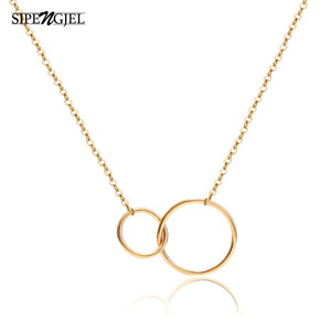 fashion Double Buckle choker necklace small round pendant necklace for women jewelry 2020