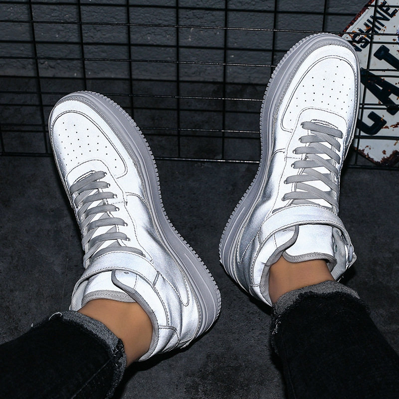 2019 New Style AJ1 Low cut Shoes Sports Footwear Air Force One Shoe COUPLE'S Gold And Silver Students Skate Shoes