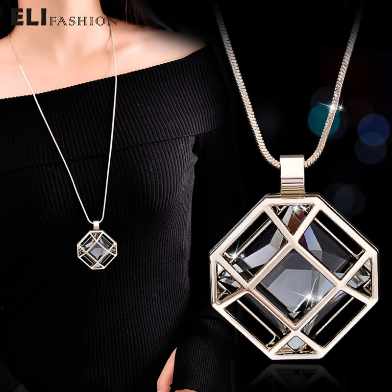 ELIfashion Octagon Shape Cage Rhinestone Inside Pendant Necklace Long Chain Jewelry Fashion For Women In Winter 2 Colors Choice