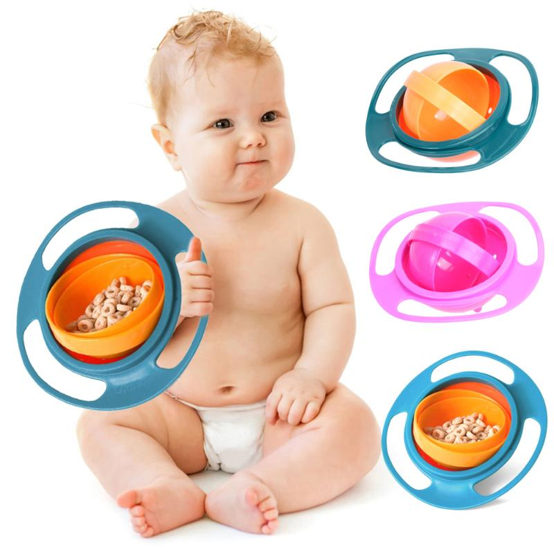 360 Rotate Universal Gyro Bowl Practical Design Children Rotary Balance Novelty Gyro Umbrella Spill-Proof Solid Feeding Dishes