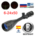 B BESTSIGHT ยุทธวิธี Riflescope 6-24X50 AOE สีแดงสีเขียว CROSSHAIR ปืนไรเฟิลขอบเขต Optical Sight ขอบเขตการล่าสัตว์