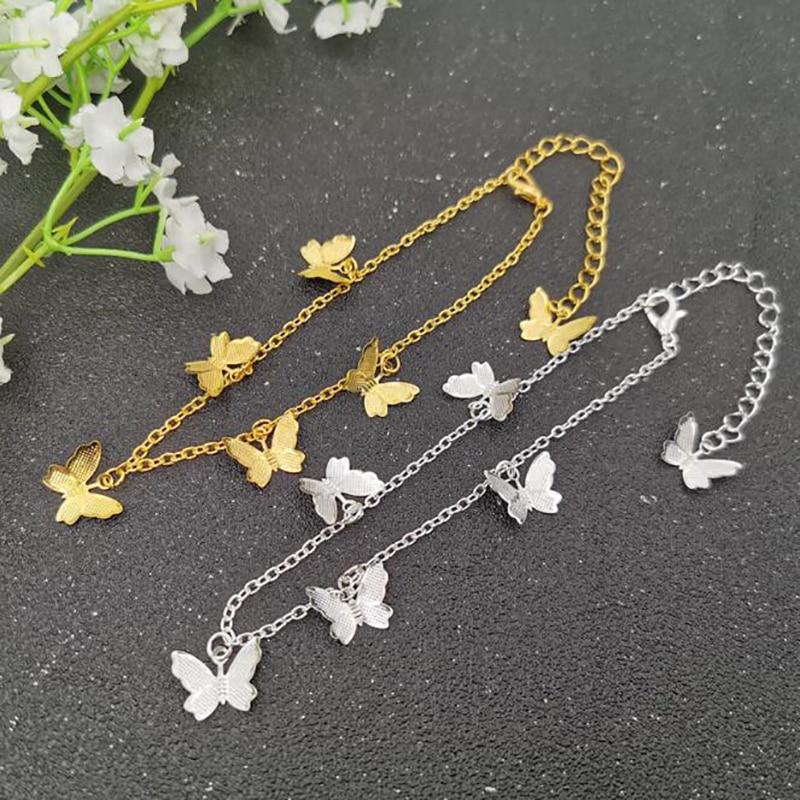 Новая мода Бабочка ножные браслеты для женщин Золотой Серебряный цвет цепочка на лодыжке браслет на ногу 2020 богемные ювелирные изделия для ...