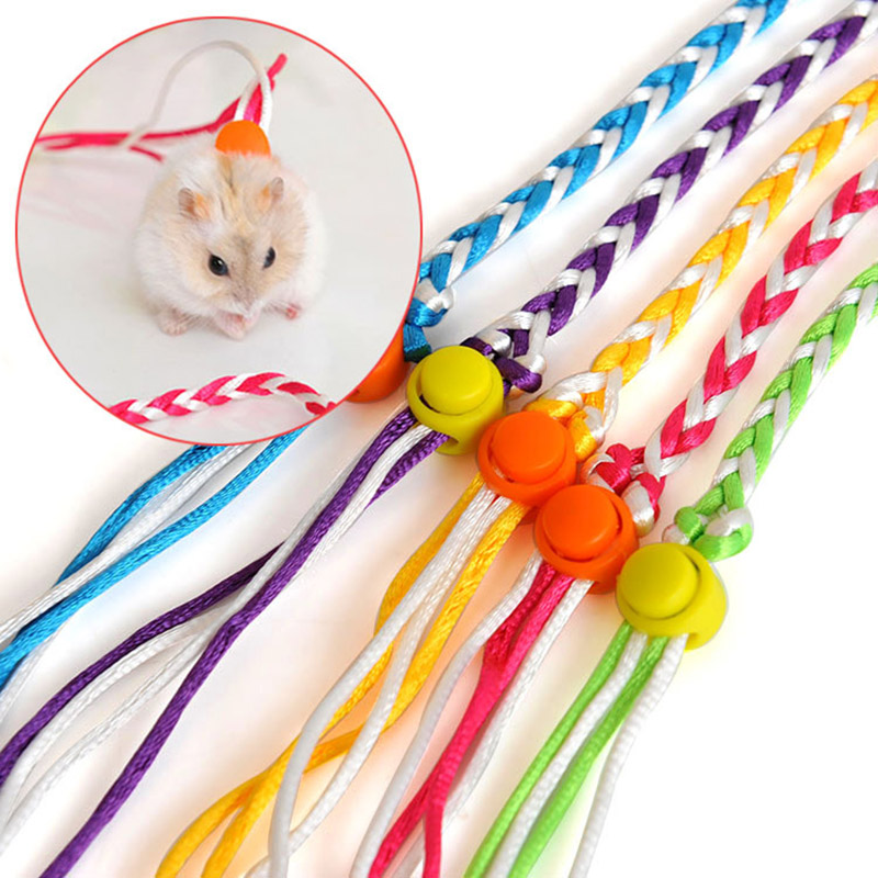 Hot Sale 1.4m/2m Adjustable Pet Hamster Leash Harness Rope Gerbil Woven Harness Lead Collar For Rabbit Squirrel Rat Mouse Pet