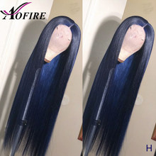 Full Lace Front Human Hair Wigs Blue Color Brazilian Remy Straight Wig Free Part For Black Women Pre Plucked 130% Density Aofire(China)