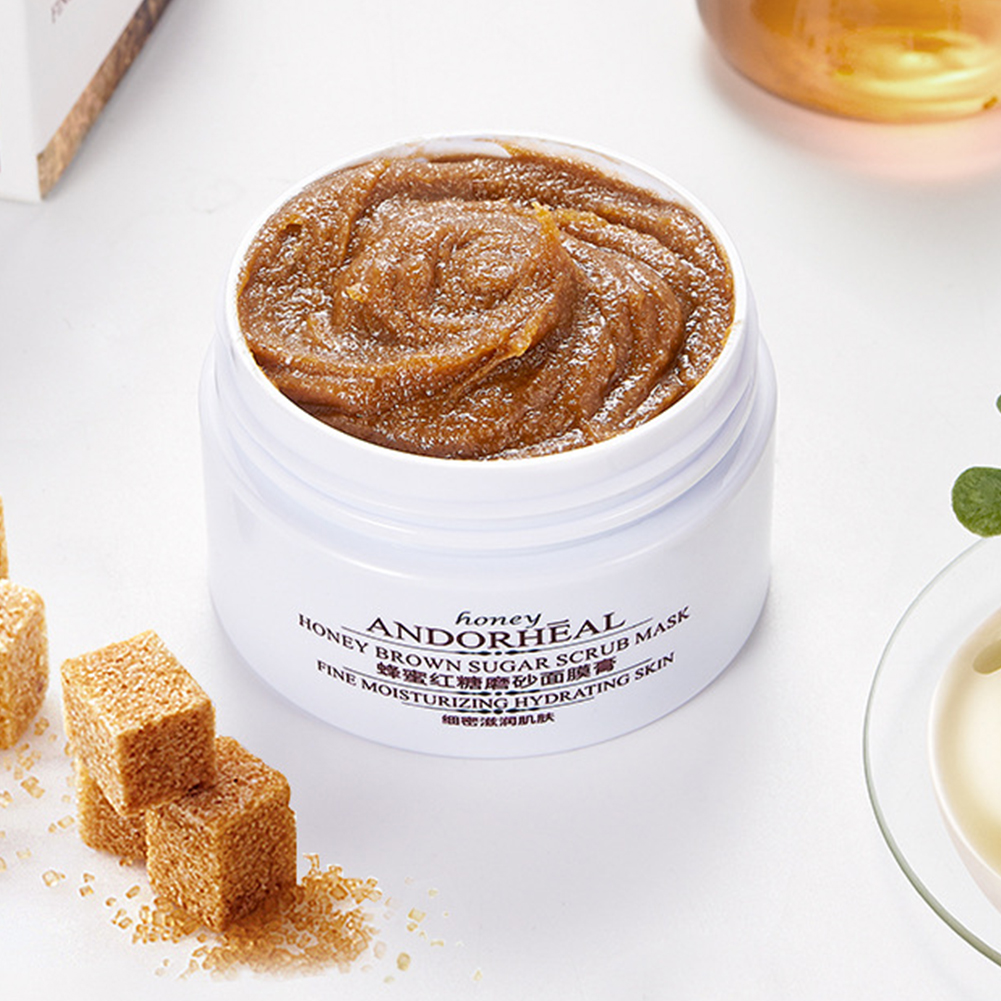 65g Women Honey Brown Sugar Body Hands Cream Smoothing Moisturizing Dead Skin Facial Scrubs Coarse Pore Exfoliating Brightening