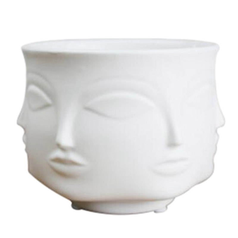 Artist'S Residence Face Flower Pot Decoration Potted Planting Garden Decoration White Pottery Vase White Ceramic|Flower Pots & Planters| |  -