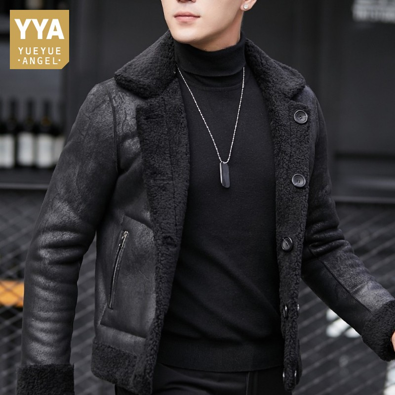 Winter Mens 100% Wool Shearling Jacket Warm Suede Leather Jacket 5XL Overcoat Single Breasted Short Real Lamb Fur Coat