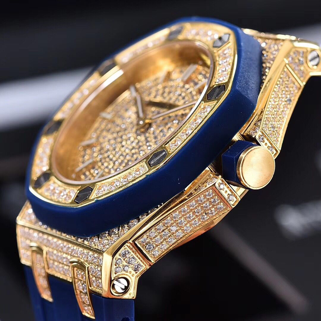 Full diamonds yellow gold Iced out watch 37mm szie women watch quartz ladies watches gold case red dial rubber strap - 4