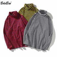 BOLUBAO Fashion Brand Mens Long Sleeve T Shirts Men High-Quality Cotton T Shirt Men's Turtleneck Striped T-shirt Tops