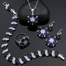 925 Sterling Silver Jewelry Sets Blue Stones White Cubic Zirconia for Women Wedding Earrings Pendant Ring Bracelet Necklace Kit(China)