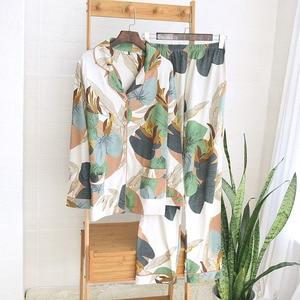 Image 4 - Women Long Sleeve Nightwear Autumn 100% Cotton Knitted Pajama Set Turn down Collar Leaves Printing Pajamas Loungewear Sleepwear