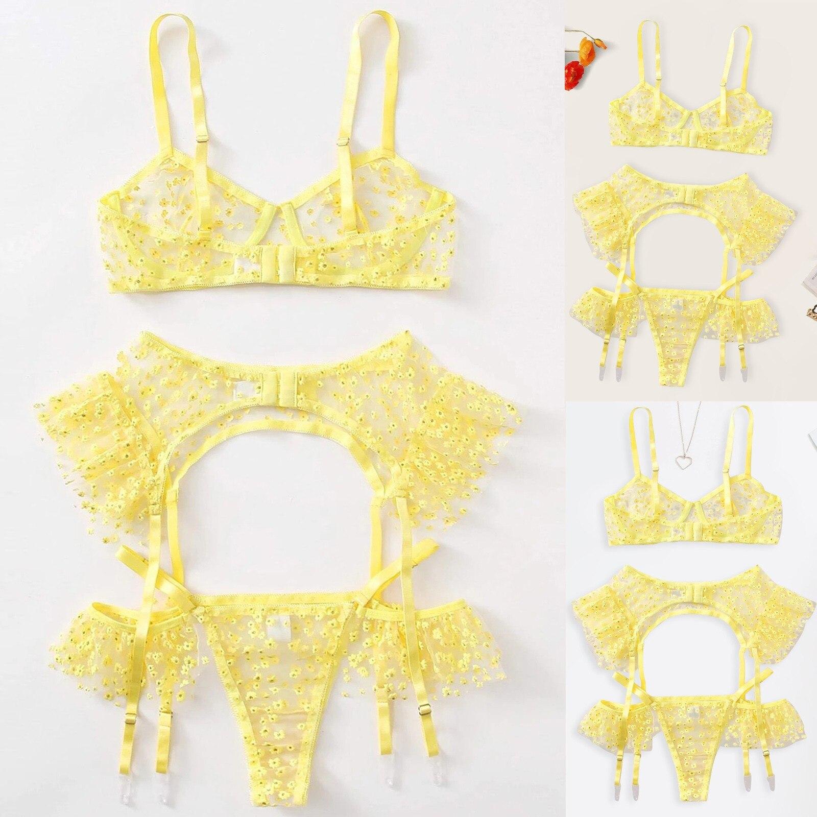 40 # сексуальное женское белье Для женщин желтый комплект нижнего белья бюстгальтер на косточках сексуальные трусики
