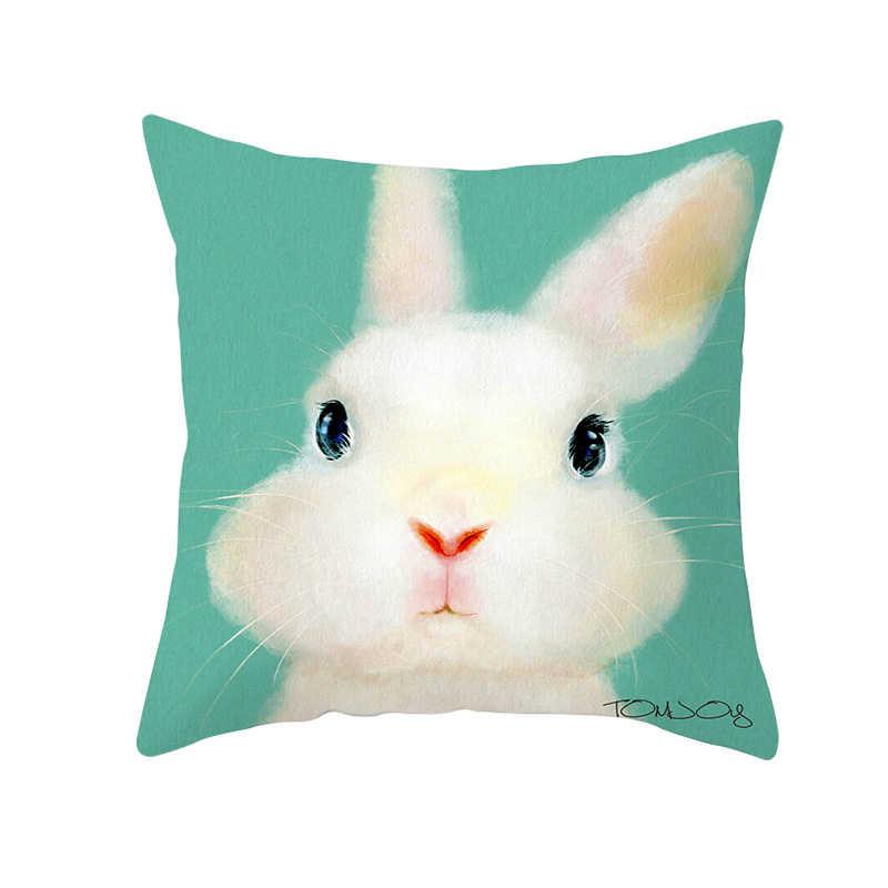 Fuwatacchi الحيوان رمي الوسائد لطيف الأرنب البيض وسادة تغطي عيد الفصح يوم وسادة يغطي للمنزل أريكة كرسي ديكور سادات