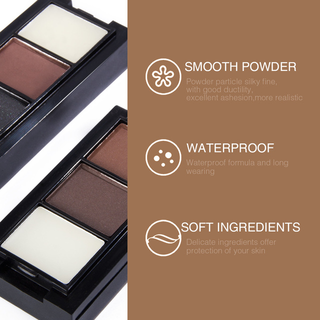 Pro 2 Color Eyebrow Enhancer Makeup Eyebrows powder Long-lasting Waterproof With Brush Mirror Cosmetic Kits 5