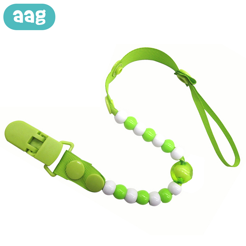 AAG Baby Pacifier Chains Beads Safe Teething Chain Necklace Pacifier Clips Infant Nipple Holder Chain Newborn Pearls Teat Straps