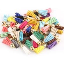 50 pçs 40mm borla de couro do vintage para chaveiro celular cintas jóias fibra franja camurça borla diy pingente encantos descobertas