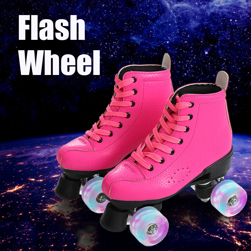 4-Color Artificial Leather Double-Row Roller Skates With Flashing PU Wheels Men Women Outdoor Roller
