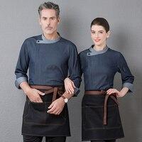 High End Restaurant Hotel Top Chef Waiter Long Sleeve Workwear Clothing Baker Barber Uniform Kitchen Master Cook Overalls Jacket