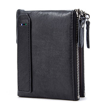 HOT Genuine Crazy Horse Cowhide Leather Men Wallet Short Coin Purse Small Vintage Wallets Brand High Quality Designer