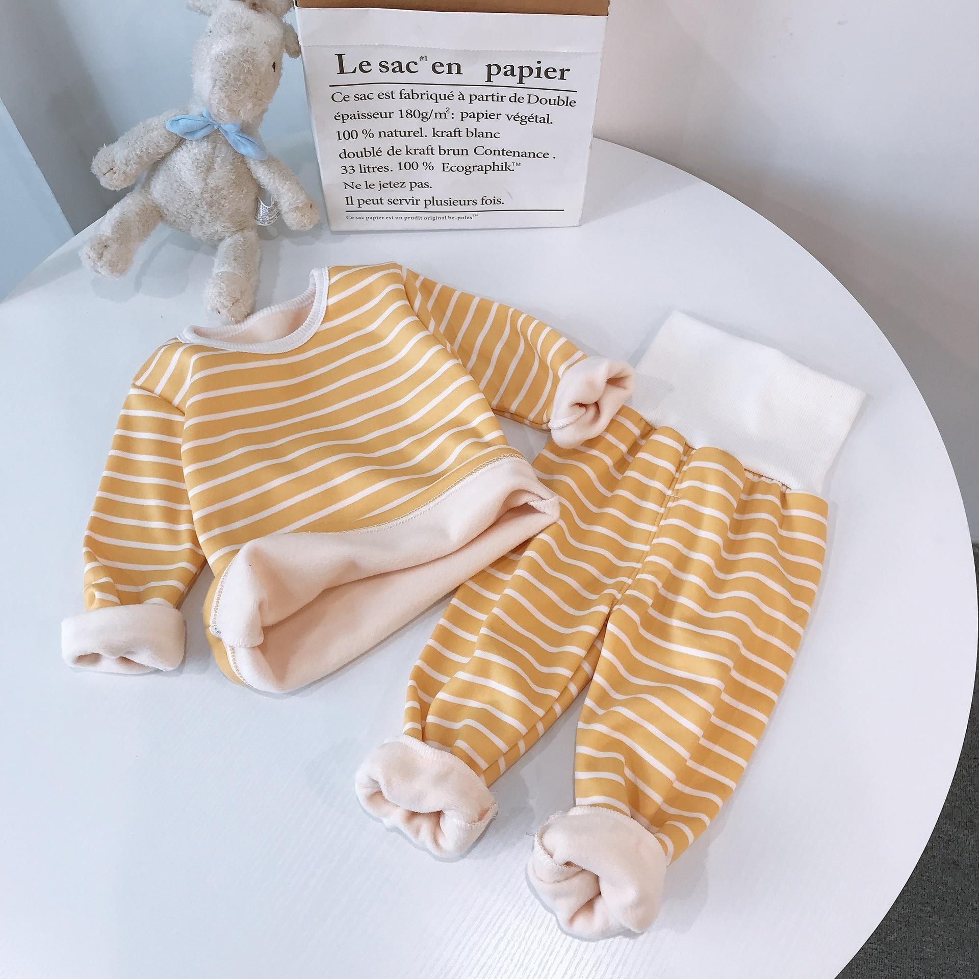 Children Pajamas Sets Baby Boys Girls Clothing Sweatshirt Waist Pants Set Toddler Warm Autumn Winter Outfits Kids Suit Clothes 5