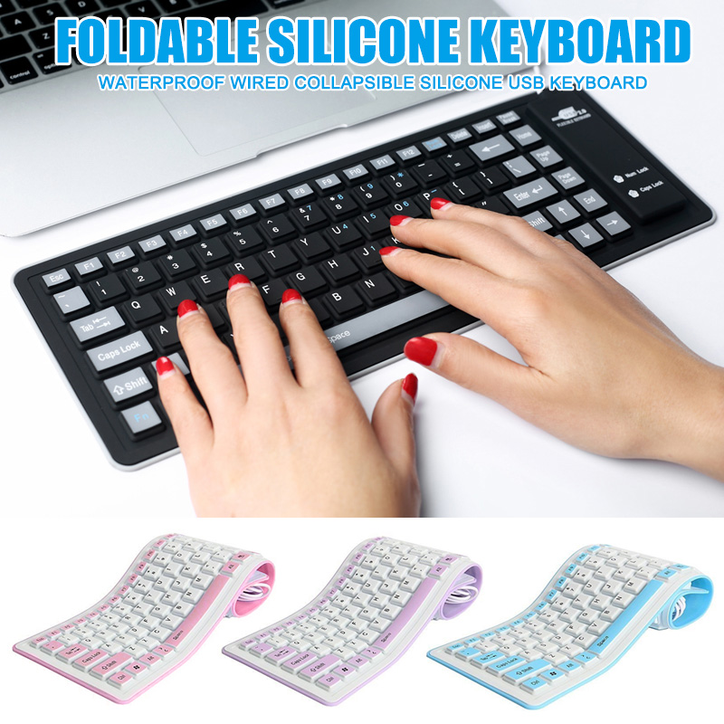 Silicone Folding Keyboard With Flexible Silicone USB Cable Soft Waterproof Roll Up Silica Gel Keyboard For Laptop