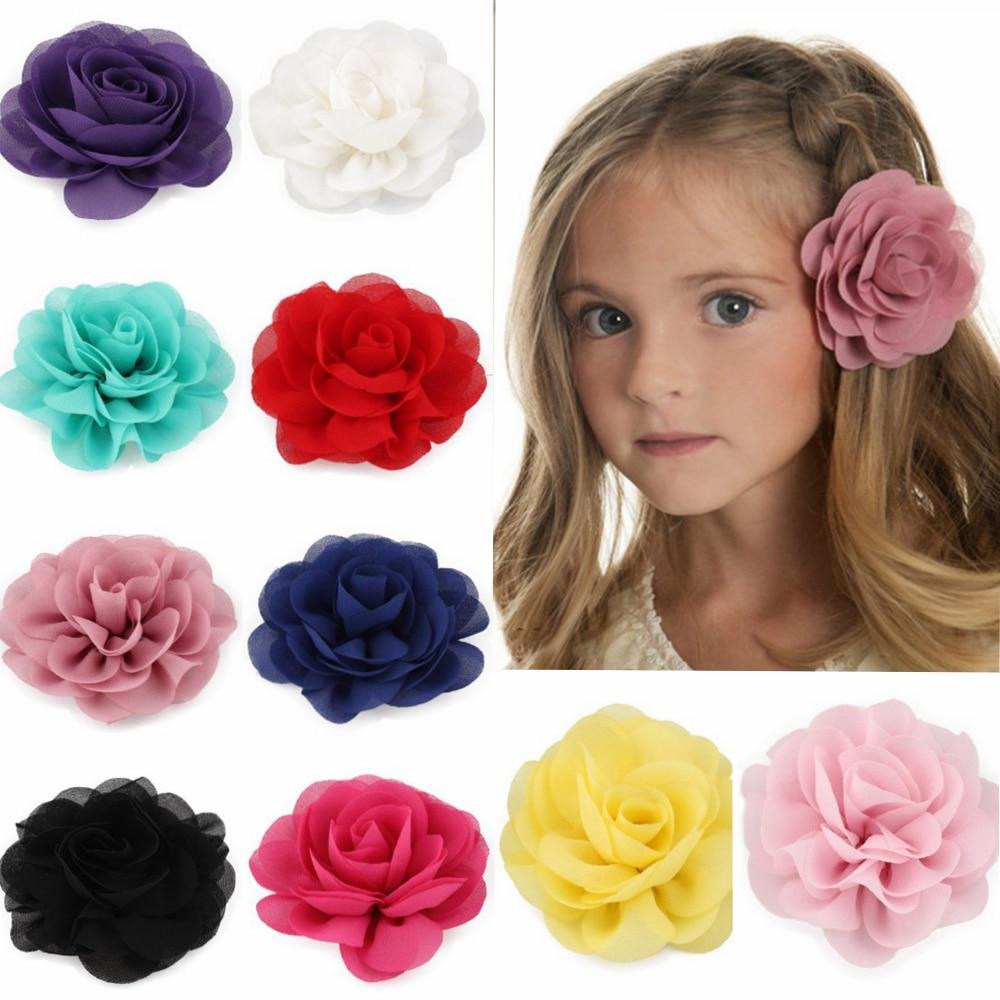 Розничная продажа, 8,5 см, шифоновые лепестки для новорожденных, заколки для волос с цветами пока, скрученная розовая ткань, цветы для волос, Детские волосы для девочек, аксессуары