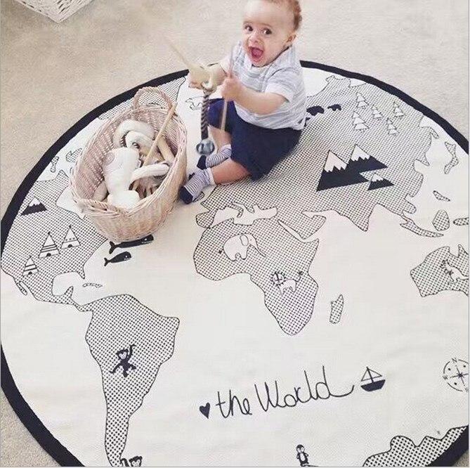 World Map Baby Play Mats Kids Crawling Carpet Floor Rug Baby Bedding Rabbit Blanket Cotton Game Pad Children Room Decoration