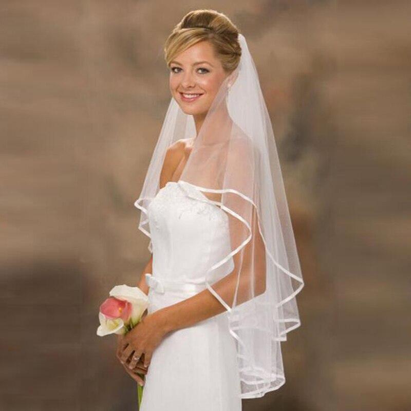 2020 High Quality On Sale One Layer White Tulle Satin Edge Bridal Wedding Veils 120cm Bride Veils Wedding Accessory