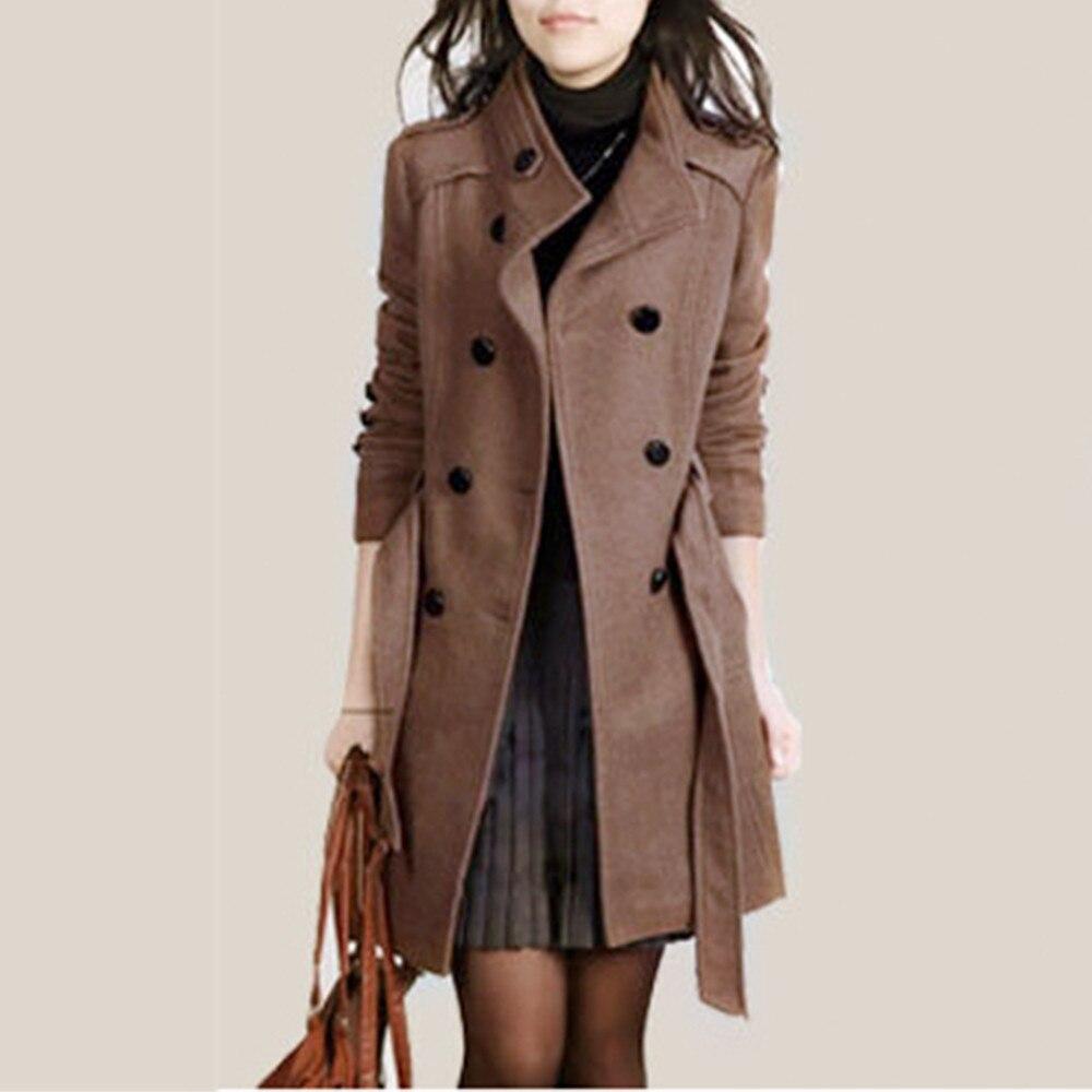 Female Coat Women's Windbreaker тренч Ropa Mujer Fashion Loose Winter Warm Long Sleeve Button Button Jacket With Belt H4
