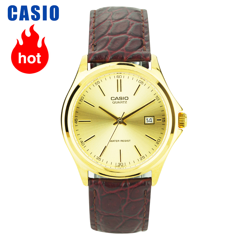 Casio Watch Brown Leather Grain Pointer Calendar Quartz Men's Watch MTP-1183Q-9A